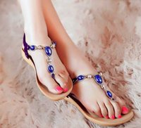 Wholesale Woman Summer Sandals Comfortable Massage sandals Flat Keel Beaded Shoes Diamond Gem Ladies Sandals eu size US size choose