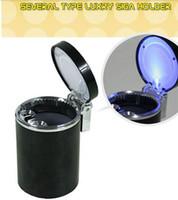 Wholesale Three Colors LED Car Tone Plastic Smokeless Cigarette Ashtray Holder With LED Lamp Car Ashtrays Interior Accessories Style