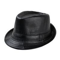 Wholesale New Mens Fedora Hat Black Faux Leather Jazz Hat Fashion Autumn Winter Hats for Men