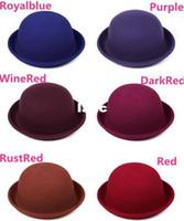 Wholesale Fashion Hot Vintage Women Lady Cute Trendy Wool Felt Bowler Derby Fedora Hat Cap Hats Caps