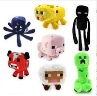 Wholesale Minecraft dolls plush Sheep Creeper Enderman Pig Ocelot Squid Mooshroom Minecraft Stuffed Pluh new Toys gifts different style freeshipping