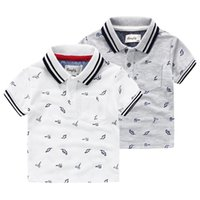 Wholesale Hot quality Brand dinosaur Tap collar boys Polo shirt Striped collar short sleeve cotton boy knitted Polos Children clothing Kids years
