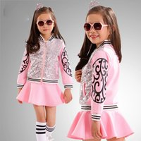 Wholesale 2015 Autumn and Autumn Europea and American Big Girls Stitching Thread Beaded Fringe Pattern Piece Put ON a Large Lotus Leaf Skirt sets