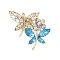 Wholesale Promotion New Fashion Vintage Brooch Rhinestone Colorful Crystal Butterfly Bride Brooch Pins Women Wedding Brooch