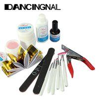 Wholesale Pro Nail Art Tips Design Acrylic UV Gel Builder Topcoat Cleanser Brush Sanding Basic Kit Set