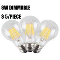 achat en gros de lumières usine vintage-Vente d'usine 8W Dimmable LED incandescence Ampoules, Vintage Style E27 A19 Edison Base de lampe, 800LM blanc chaud 2700K, 80W Incandescent Remplacement