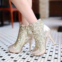 Cheap 2015 Pointed Wedding Banquet Short Boots High Heel Sexy Boots Elegant Sequined Colorful Women Prom Party Evening Shoes