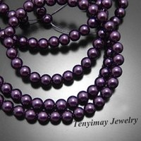 Wholesale 8mm Dark Purple Glass Simulated Pearl Beads Glass Pearl Findings Free Ship Strands strand