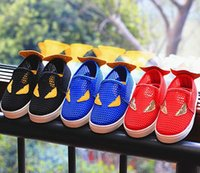 Wholesale Boys Casual Shoe Girls Shoes Cartoon Hollow Meshy Vamp Canvas Summer Kids Sneakers Spider man Footwear Yard Red Black Blue I3659