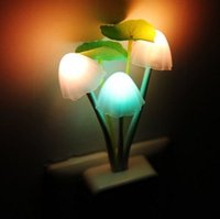 Wholesale Optical mushrooms colorful small night lamp Plug the baby head of a bed lamp LED fashion induction lamp