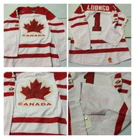 Cheap Mens #1 Roberto Luongo White 2010 Canada Team Vancouver Winter Olympic Hockey Jerseys Ice International Sports Stitched Premier Authentic