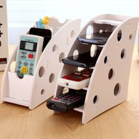 Wholesale Multi functional wooden Desk Remote Controller Storage Box TV DVD VCR Step Mobile Phone Holder Stand stationery organizer