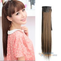Wholesale Long Lady Girl Straight Ponytail Wigs Hair Hairpiece Extension Light Brown PTSP