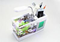 Wholesale 2015 Christmace Gifts Mini USB LCD Desktop Lamp Light Fish Tank Aquarium LED Clock White Black