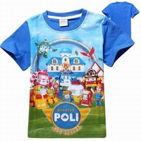 baby girl tees - Retails new Poli Robocar kids children boys t shirt cotton children baby kids boys shirts boys girls tees tops t shirt for child clothing
