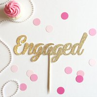 baby engaged - glitter Engaged Cupcake Toppers birthday winter Wedding Bridal baby Shower Engagement Party Bachelorette food picks