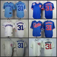 throwback jerseys - Cheap Chicago Cubs jerseys Greg Maddux Throwback cubs baseball jerseys White cream Blue turn back Size S XL