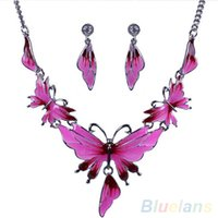 beaded butterfly choker - Women s Alloy Butterfly Shaped Choker Chain Necklace Earrings Jewelry PZU NDB