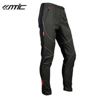 Wholesale Santic Men s Windproof Cycling Trousers Fleece Thermal Wind Winter Pants Tights James Cycling Windproof Pants Clothing Black