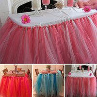 banquet table skirts - High Quality Handmade Tulle Tutu Table Skirts Organza Wedding Banquet Birthday Baby Shower Party Table Decorations JM0157 kevinstyle