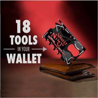 Wholesale 18 in Multifunctional Pocket Handy Outdoor Survival Tools Kit Black Stainless Steel Bottle Opener Ruler Peeler Wrench Screwdriver