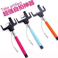 Wholesale arrival D09 Plus take Wired Selfie Monopod with rear mirror Clip Holder wire selfie stick built in remote button for iPhone monopod selfie