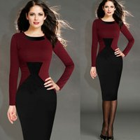 Wholesale New Half Long Sleeve Knee Length Women Working Dresses Office Dresses Plaid Sheath Pencil Bodycon Bandage Grid Panelled Casual Dress OXL065