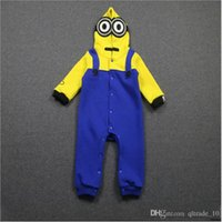 Wholesale 100ps BBA4054 kid minions One Piece jumpsuits Onesies baby clothing Despicable Me romper minions hoodies christmas gift bodysuit Romper Suit