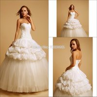 Wholesale 2015Custom Made Lace Corset Ball Gown Taffeta And Tulle Lace Up Wedding Dresses