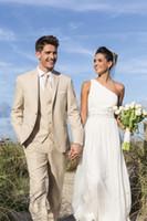 beach pants for men - Groom Tuxedos Best Man Suit Wedding Beige Suits Custom Made Three Pieces Suits for Beach Wedding Grooms Groomsmen Jacket Pants Vest