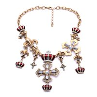 al por mayor la novedad al por mayor collares cruz-Novedad Gran Plata Oro Color Cruz Corona Mujeres Collar Moda Vintage Joyas Venta al por mayor