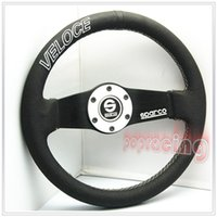 Wholesale NEW Universal Textured VELOCE quot MM Real Leather Racing Steering Wheel w BLACK SILVER Horn Ring