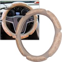 Wholesale New Beige D Archaize Coining Environmental Protection White Latex Car Steering wheel cover