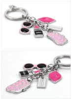 Wholesale New Sunglasses and Lipstick Brand Key ring Creative Key Chain Fashion Metal Car Keychain Women Gift Bag Charms Pendant Jewelry