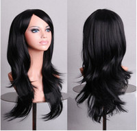 Wholesale Fashion non mainstream lovely sweet girl curl wave wig black A03 cm long