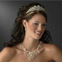 Rhinestone/Crystal custom made jewelry - 3pcs Pearl Bridal Accessories Jewelry Sets Handmade Custom Made Gold Hair Accessories Earrings Sets Necklace Tiaras Earrings Necklace