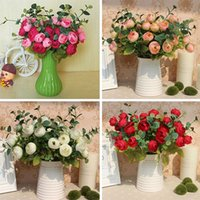Wholesale 10 Heads Flowers Bouquet Artificial Silk Champagne Flower Table Spring Rose Hydrangea Wedding Decor Party