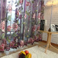 Wholesale Hot purple tulle for windows luxury translucidus sheer curtains for kitchen the bedroom living room design curtain fabric drapes