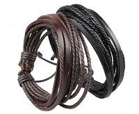 mens jewelry cheap - Cheap Mens Bracelets Wrap Multilayer Genuine Leather Bracelet with Braided Rope Fashion Jewelry