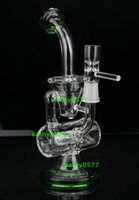 clear glass - 2014 New glass bong quot Two founction double Recycler Glass Bongs water pipe mm joint green clear black color