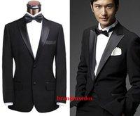 best price beige jacket - 2015Good price Peak Satin Lapel Black Groom Tuxedos Back Vent Best Man Suits Groomsmen Men Wedding Suits Jacket Pants Tie