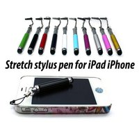 Wholesale Stretch Capacitive Stylus Pen Retractable Extended Touch Pen For Apple iPhone S C S iPad iPad mini Air Tablet Pc