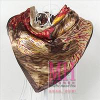 Cheap Wholesale-Fashion Women Silk Shawl Scarf Printed,90*90cm Green Satin Large Square Silk Scarves,2015 Ladies's Bandanna Satin Scarves