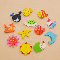 Wholesale x Mixed Cartoon Lovely Kitchen Fridge Magnet Wooden Baby Kid Educational Toy FZ1370 Hufd5H