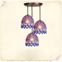 aestheticism art - New White Blue Pendant Light Aestheticism Crystal Single Head Heads Pure Manual Weaving Pendant Lamp Dinning Room Bar Light Fixture