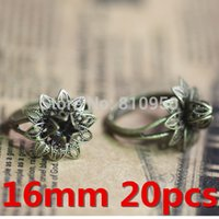 antique brass jewelry findings - mm Rings Jewelry Accessories Brass Antique Bronze Flower Pattern Rings Base Settings Finding