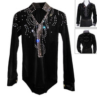 ballroom dancing waltz - Men Boy Latin Dance Dress Shirt High Grade Velvet Diamond Man Vestido De Baile Latino Dancewear Samba Waltz Ballroom Dance Tops
