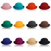 cotton wool roll - Fashion Design Vintage Women Men Classic Party Wool Bowler Felt Fedora Derby Hats Roll Up Caps CA03048