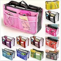 Wholesale 2000pcs CCA3588 High Quality Colors Dual Inner Bag In Bag Cosmetic Makeup Pouch Handbag Totes Organizer Insert Purse Double Zippers Bag