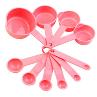 Wholesale 10Pcs Baking Cup Spoon Set Tablespoon Measuring Tool Pink Kitchen Coffee Cooking